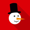 Fun Snowman Face In Flat Style...