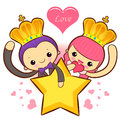 The fun a star Prince and Princess Mascot. A couple of Love Char Royalty Free Stock Photo