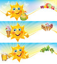Fun sun with ice cream and cool drinks horizontal banners contains transparent objects eps Stock Images