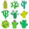 Fun vector patch cactus set. Print pin, badge, sticker, collection Royalty Free Stock Photo