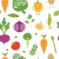 Fun vegetables pattern a seamless Royalty Free Stock Photo