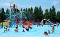 Fun at water park people having in the swimming pool in zoomarine acqua in torvaianica rome italy july Stock Photos
