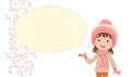 Fun white girl in cap and scarf and bubble for text.