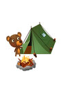 Fun wild bear camping illustration in a tent in the wilderness brown Royalty Free Stock Image