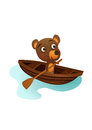 Fun wild bear swimming illustration in a boat in the wilderness brown Stock Photography