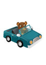 Fun wild bear traveling illustration in the wilderness long distance by car brown Stock Image