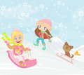 Fun in the winter day illustration Royalty Free Stock Photography