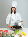 Fun wok cooking lesson Stock Images