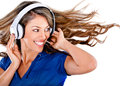 Fun woman listening to music Royalty Free Stock Images