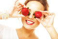 Fun woman with strawberry Royalty Free Stock Photo