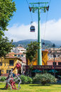 Funchal cable car madeira the that runs between and monte on the island of Royalty Free Stock Photos