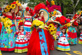 Funchal, Madeira - April 20, 2015- Performers with colorful costumes participate in the Parade of the Flower Festival on the Madei