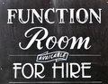 Function room for hire sign on blackboard Royalty Free Stock Photography