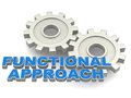 Functional approach concept gears with text showing a function based on management process hiring people etc Stock Photo