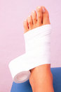 Functional bandage tibial tarsal low dye taping in studio Royalty Free Stock Image