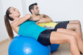 Functional training two persons during on fitness balls Stock Photo