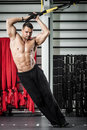 Functional training young man streching muscles making Royalty Free Stock Photos