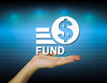 Fund hand and marking with dark blue background Royalty Free Stock Photo