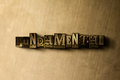 FUNDAMENTAL - close-up of grungy vintage typeset word on metal backdrop