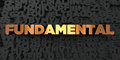 Fundamental - Gold text on black background - 3D rendered royalty free stock picture