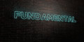 FUNDAMENTAL -Realistic Neon Sign on Brick Wall background - 3D rendered royalty free stock image