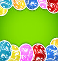 Fundo de Easter com os ovos ornamentado coloridos do grupo Foto de Stock Royalty Free