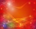 Fundo do cartão do natal com espaço para o texto papai noel em um sledge fundo decorativo vermelho dos flocos de neve Foto de Stock Royalty Free