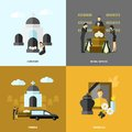 Funeral flat set design concept with cemetery and mourning icons isolated vector illustration Royalty Free Stock Image