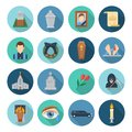 Funeral icon set Royalty Free Stock Photo