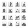 Funeral icons and burial vector web buttons Stock Image