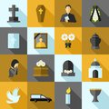 Funeral Icons Flat Set Royalty Free Stock Photo