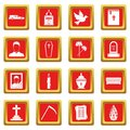 Funeral icons set red