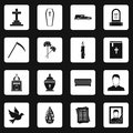 Funeral icons set squares vector