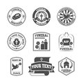 Funeral labels icons set Royalty Free Stock Photo