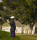 After a funeral a marine corpsman in dress uniform stands and looks at the graves of dead soldiers buried on point loma in the Stock Photography