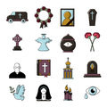 Funeral ritual service icons set, cartoon style