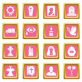 Funeral ritual service icons set pink square vector