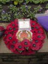 Funeral wreath lytham st annes uk th november floral tributes for the of year old wwii war veteran harold jellicoe percival at Royalty Free Stock Photography