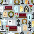 Funerals and mournful ceremony patterns colored graphic design on gray background Stock Photos