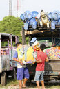 Funfair workers were preparing on a square in the city of solo central java indonesia Stock Photography