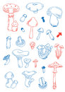 Fungus doodles vector set of Royalty Free Stock Photos
