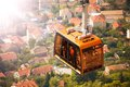 Funicular cable car in dubrovnik over the old town Royalty Free Stock Photos