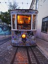 Funicular in lisbon going up the calcada da gloria street portugal Royalty Free Stock Photography