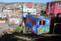 Funicular passenger carriage of railway one of the oldest in the world goes up on may in valparaiso chile Stock Image