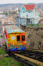 Funicular passenger carriage of railway one of the oldest in the world goes up on may in valparaiso chile Royalty Free Stock Image