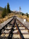 Funicular rails tracks in the mountains high tatras Stock Photos