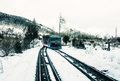 Funicular railway at High Tatras mountains in Slovakia, old filt