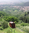 Funicular railway montecatini running between terme alto Royalty Free Stock Photo