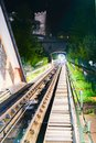 Funicular ride, rails and tunnel en route Royalty Free Stock Photo