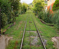 Funicular tracks lead up to the cable car in montecatini italy Royalty Free Stock Photography
